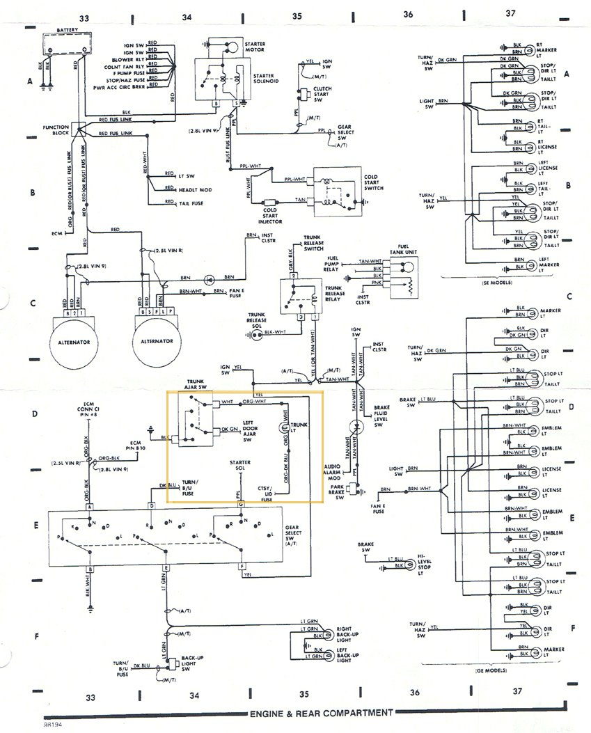 Fiero Tail Wiring Diagram Diagrams 1986 Pontiac Firebird Fuse Pennock S Forum Light Harness By Headlight