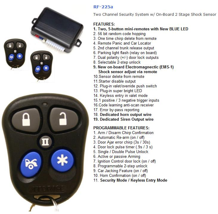need some help autopage rf 225 alarm install here is the fiero wiring information that was found on the12volt com