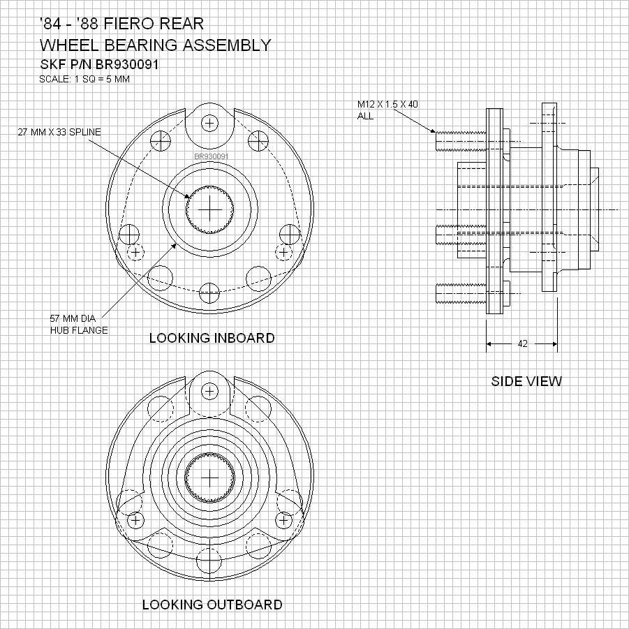Pff Pennocks Fiero Forum Pda Edition Pontiac Drawings But Chose Instead To Add Them The Master So For Starters Here Is Rear Wheel Bearing Assembly This Skf Part