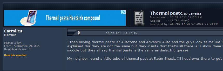 Thermal paste - Pennock's Fiero Forum
